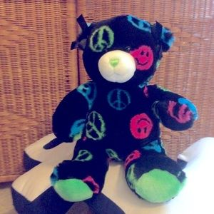 Build a bear peace sign teddy bear plush toy NWOT